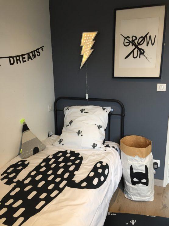 linge de lit enfant cactus blanc noir