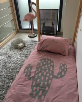 linge de lit enfant Cactus rose kaki