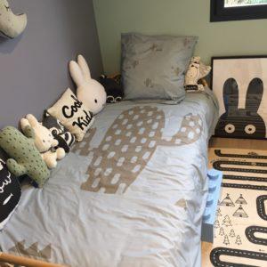 linge de lit enfant cactus bleu kaki
