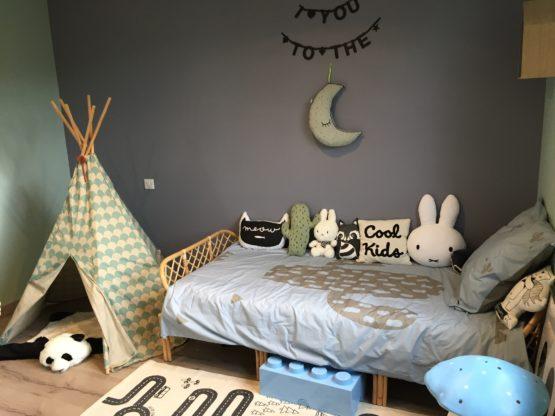 linge de lit enfant cactus kaki bleu