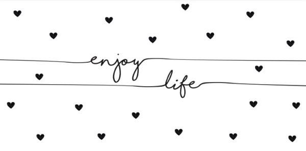 Nappe d'anniversaire Enjoy Life coeurs